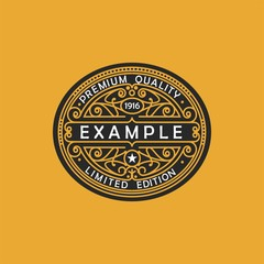 Modern emblem, badge, monogram template. Luxury elegant frame ornament line logo design vector illustration. Good for Royal sign, Restaurant, Boutique, Cafe, Hotel, Heraldic, Jewelry, Fashio