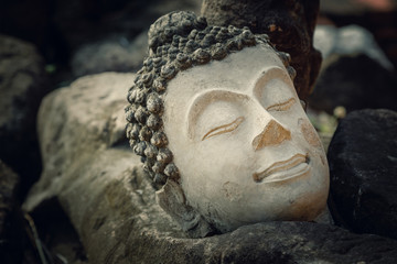 Ruins of an Buddha Image Headl at Phutthaisawan Temple in Ayuthaya Historical Park, UNESCO World Heritage Site in Thailand