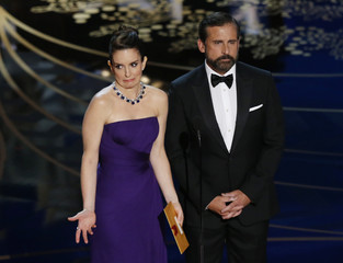 Tina Fey and Steve Carell present the Oscar for Best Production Design at the 88th Academy Awards in Hollywood