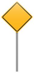 Yellow rhombus road sign on stick