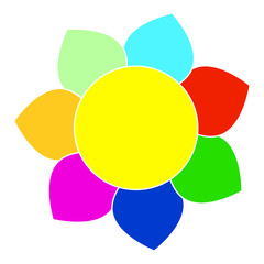 Vector picture of a fairy flower with seven multicolored petals, flat style