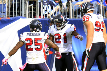 Texans' McCain celebrates his touchdown on the Titans' with Jackson and Watt during second half of their NFL football game in Nashville