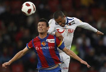 FCZ's Alphonse challenges FCB's Stocker during their Swiss Super League soccer match in Zurich