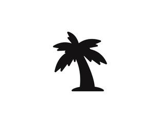 Flat vector black palm tree summer tropical