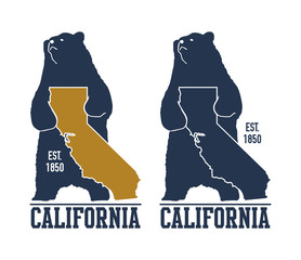 California t-shirt with grizzly bear. Vector illustration