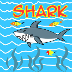 Smiling shark happy in sea for child and kid cartoon illustration flat