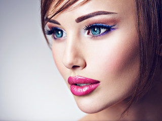 Attractive caucasian woman with beautiful big blue eyes.