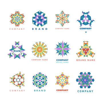 Abstract triangular polygonal shape kaleidoscope logo template circle decorative vector illustation.