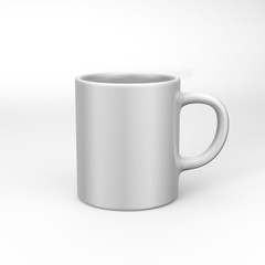 Realistic blank ceramic white coffee cup and mug isolated on white background. design template. 3d render illustration