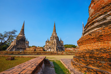 Ayutthaya, Thailand - December 20 2016: Wat Phra Si Sanphet temple in Ayutthaya Historical Park, a UNESCO world heritage site.