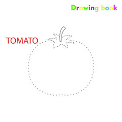 Tomato coloring and drawing book vegetable design illustration