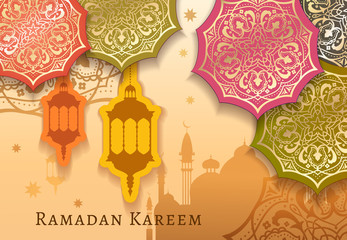 Ramadan Kareem celebrate greeting card or illustration with paper cutting style with bright colored arabic design patterns and lanterns, arabic lamp. Vector illustration. EPS 10