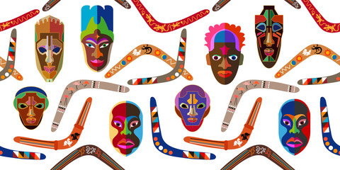Seamless vector border with Australian boomerangs and African masks.