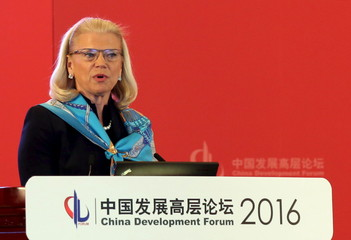Ginni Rometty, chairman, president and CEO of IBM speaks during a session of the China Development Forum in Beijing