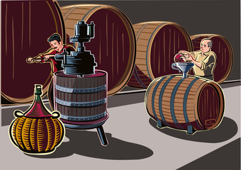 Cellar with big barrels of wine, and men at work.