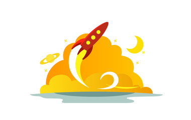 Flight red rocket color illustration. The startup metaphor. Ready to start. The beginning path to the stars.