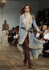 A model presents a creation at the Ralph Lauren 2011 Spring/Summer collection during New York Fashion Week