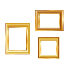 Set of golden frame isolated on white background. Classic style composition. Blank picture frame template. Modern design element for you product mock-up or presentation.