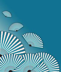 asian flying fans illustration in blue shades