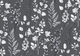 Seamless pattern with hand drawn spring flowers and plants