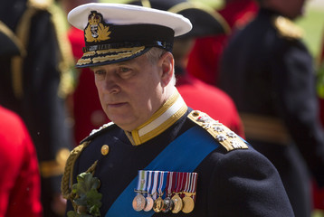 Britain's Prince Andrew reviews Chelsea Pensioners during the Founder's Day Parade at the Royal Hospital Chelsea in London