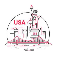 USA - modern vector line travel illustration