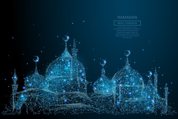Abstract image of arabic mosque in the form of a starry sky or space, consisting of points, lines, and shapes in the form of planets, stars and the universe. Vector Ramadan Kareem concept