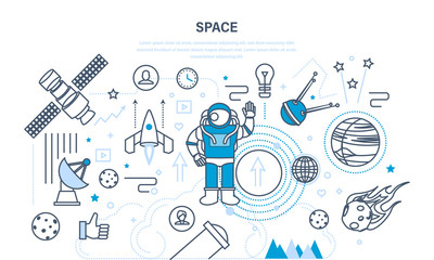 Set on space theme, including transport, planets, related objects, satellites.