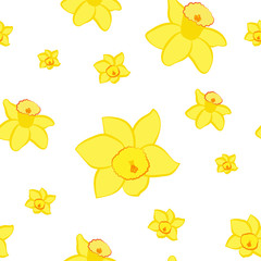 Seamless pattern. Yellow narcissus flowers different sizes isolated on white. Vector illustration