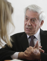 Peruvian-Spanish writer Vargas Llosa answers questions at a promotion event in Vienna