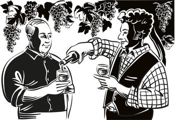 Two farmers in a break of the harvest, are allowed a glass of good red wine, in the cool shade of a pergola full of black grapes ripen.