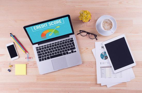 Business desk concept - CREDIT SCORE