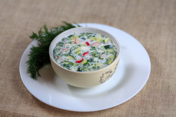 Cold radish soup potatoes chicken a cucumber and greens on kefir
