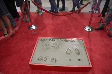 A view of actress Gena Rowlands' hand and footprints in the forecourt of the TCL Chinese Theatre in Los Angeles