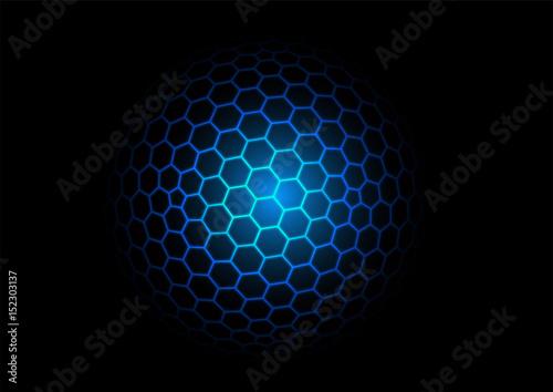 3d hexagonal grid sphere vector background