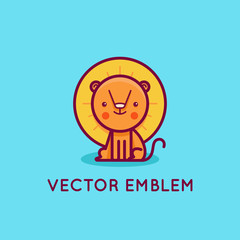 Vector logo design template in cartoon flat linear style - little smiling lion