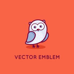 Vector logo design template in cartoon flat linear style - little smart owl