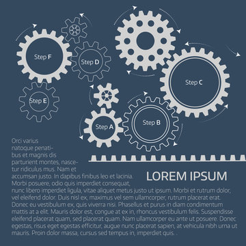 Vector infographic template with gears  on grey background.