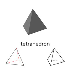 Tetrahedron. Geometric shape. Isolated on white background. Vector illustration.