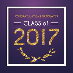 Congratulations on graduation 2017 class of. Party, Celebrate, High School / College Vector illustration on blue background.