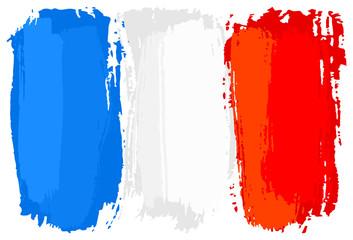 Flagge von Frankreich mit Pinselstrichen gemalt