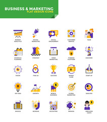 Modern material Flat design icons - Business and Marketing