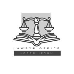 Lawyer office colorless logo label isolated on white