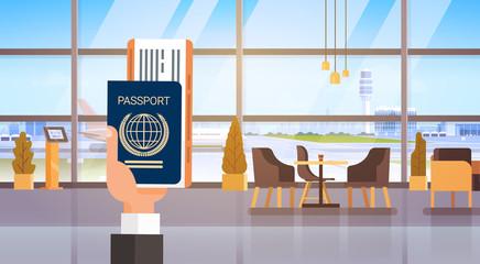 Hand Holding Passport Ticket Boarding Pass Travel Document Airport Background Flat Vector Illustration