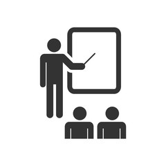 Training, education and presentation icon, with the audience. Vector illustration. Black-white pictogramm