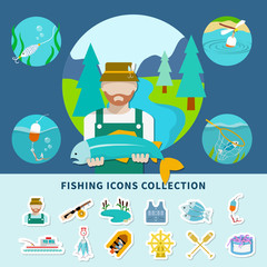 Fishing Icons Collection Background
