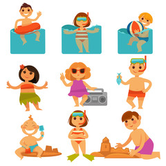 Children relaxing in pool and sand colorful poster
