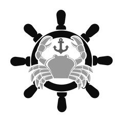 Sea club emblem with crab and handwheel illustration