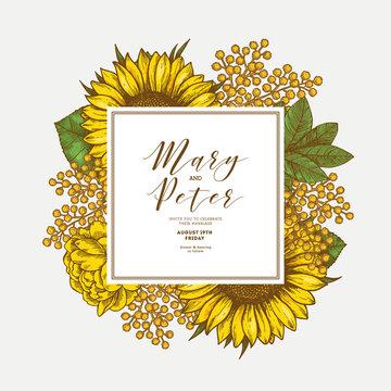 Sunflower vintage wedding invitation. Yellow flowers card design. Vector illustration