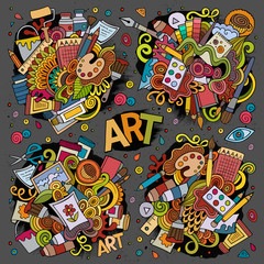 Art and paint materials hand drawn doodles design